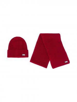 Комплект из шапки-бини и шарфа Emporio Armani Kids. Цвет: красный