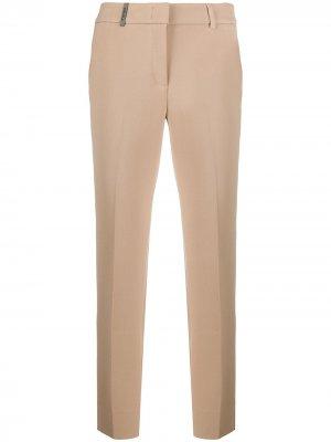 Укороченные брюки кроя слим Peserico. Цвет: нейтральные цвета