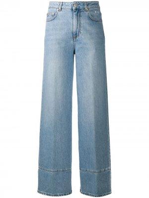 Широкие джинсы с вышитым логотипом MSGM. Цвет: синий