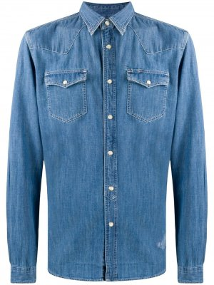 Джинсовая рубашка на пуговицах Hydrogen. Цвет: синий