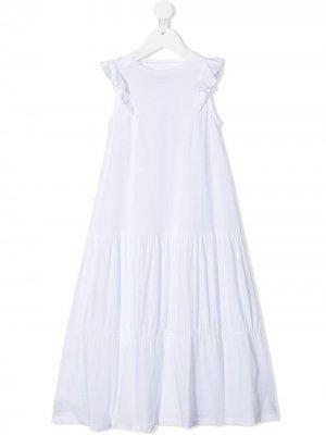 Платье с ярусными оборками Douuod Kids. Цвет: белый
