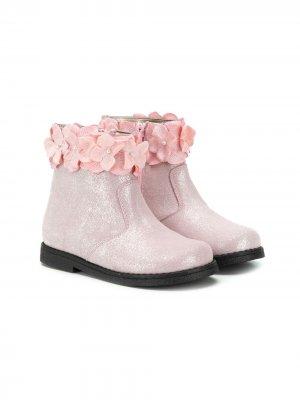 Ботинки с цветочной аппликацией Monnalisa. Цвет: розовый