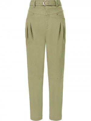 Зауженные брюки Damia с поясом Nicholas. Цвет: зеленый