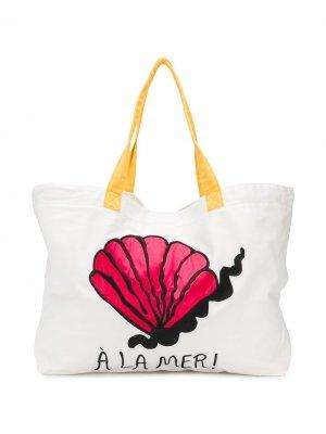 Пляжная сумка-тоут À La Mer Mini Rodini. Цвет: белый