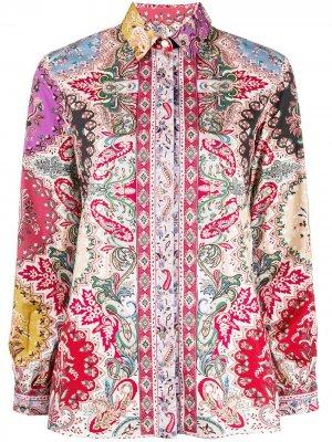 Рубашка на пуговицах с принтом пейсли Etro. Цвет: красный