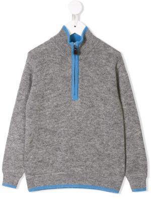Кашемировый свитер с молнией Cashmirino. Цвет: серый
