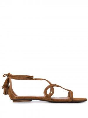 Сандалии Gitana на плоской подошве Aquazzura. Цвет: коричневый