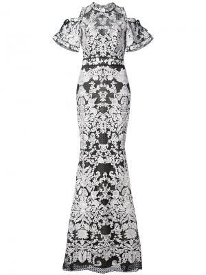 Кружевное платье с короткими рукавами Marchesa Notte. Цвет: черный