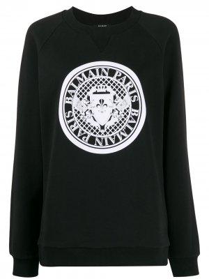 Толстовка в рубчик с круглым вырезом и логотипом Balmain. Цвет: черный