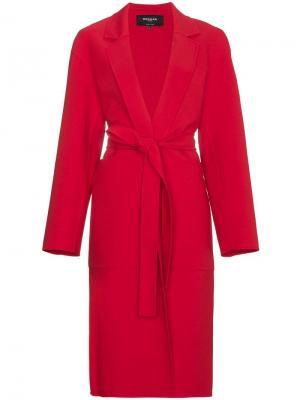 Структурированное пальто с поясом Rochas. Цвет: красный