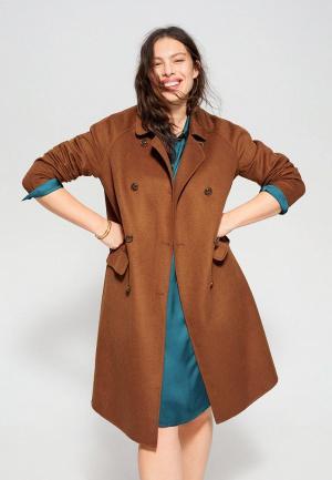Пальто Violeta by Mango. Цвет: коричневый