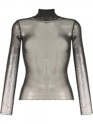 Полупрозрачная блузка с блестками Jonathan Simkhai. Цвет: черный