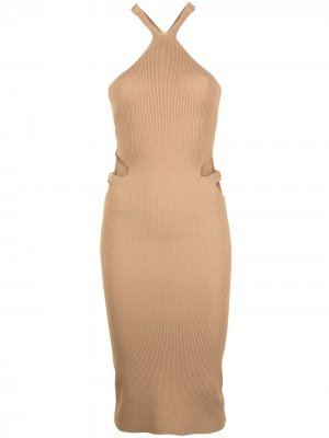 Платье Lustrate Fork в рубчик Dion Lee. Цвет: коричневый