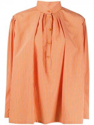 Поплиновая рубашка в полоску Alberta Ferretti. Цвет: оранжевый