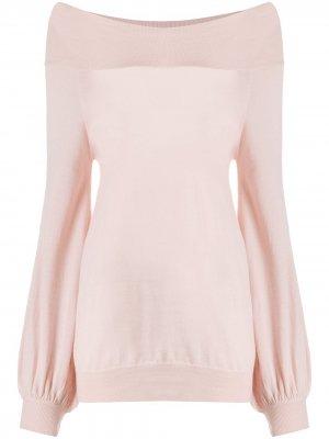 Трикотажный джемпер с открытыми плечами P.A.R.O.S.H.. Цвет: розовый