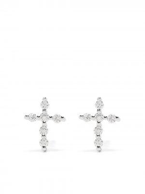 Серьги Big Cross из белого золота с бриллиантами Djula. Цвет: серебристый