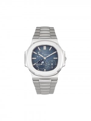Наручные часы Nautilus pre-owned 42 мм 2005-го года Patek Philippe. Цвет: синий