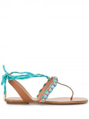 Декорированные сандалии Aquazzura. Цвет: разноцветный