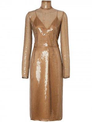 Сетчатое платье из пайеток Burberry. Цвет: золотистый