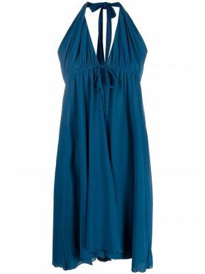 Пляжное платье миди с вырезом халтер Fisico. Цвет: синий