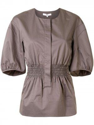Блузка с пышными рукавами Tibi. Цвет: коричневый