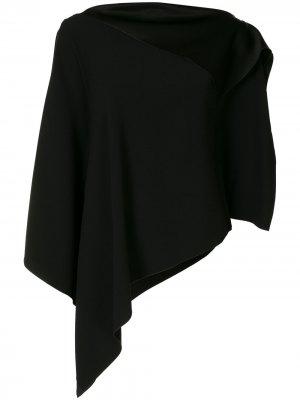 Блузка асимметричного кроя с вырезом-лодочкой Paule Ka. Цвет: черный