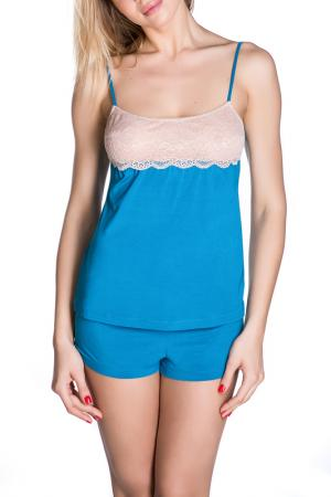 Шорты пижамные ROSE&PETAL HOMEWEAR. Цвет: морская волна