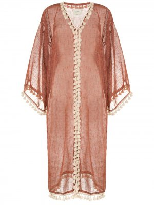 Платье-халат Haya с кисточками Bambah. Цвет: красный