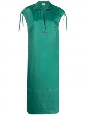 Платье-рубашка без рукавов Peserico. Цвет: зеленый