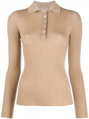 Рубашка поло в рубчик Twin-Set. Цвет: нейтральные цвета