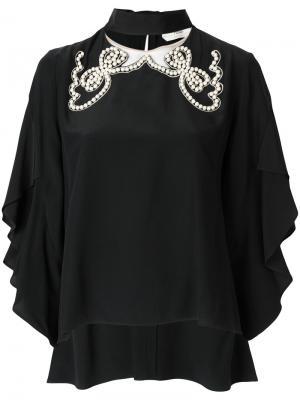 Блузка с жемчужной отделкой Fendi. Цвет: черный