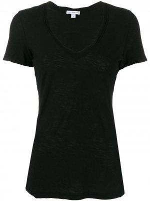 Декорированная футболка James Perse. Цвет: черный