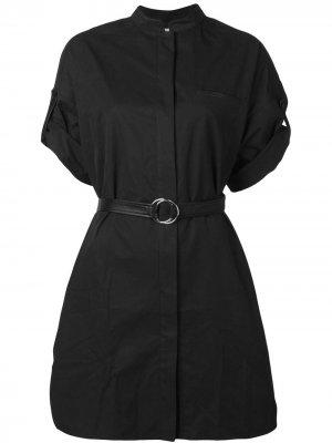 Платье-рубашка с поясом Yves Salomon. Цвет: черный