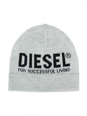 Трикотажная шапка бини с логотипом Diesel Kids. Цвет: серый