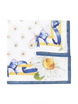 Платок с принтом цветов и бантом Monnalisa. Цвет: белый