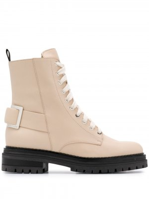 Ботинки на шнуровке с пряжкой Sergio Rossi. Цвет: нейтральные цвета