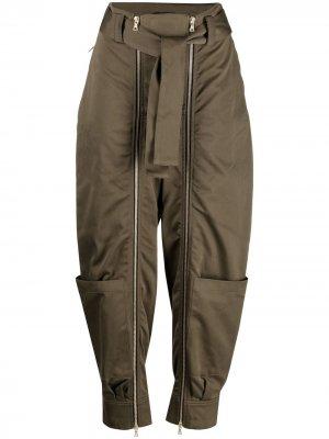 Зауженные брюки с молниями Amen. Цвет: зеленый