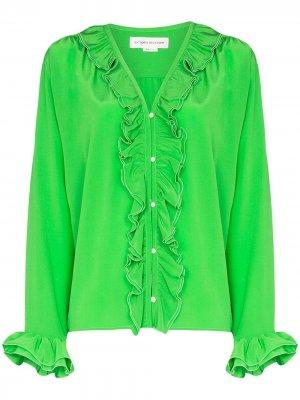 Блузка с оборками и жемчугом Victoria Beckham. Цвет: зеленый