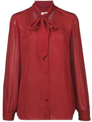 Блузка с завязкой на вороте L'agence. Цвет: красный