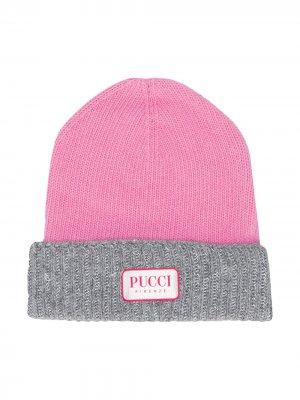Двухцветная шапка бини Emilio Pucci Junior. Цвет: розовый