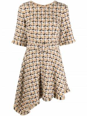 Драпированное платье мини с поясом Oscar de la Renta. Цвет: нейтральные цвета