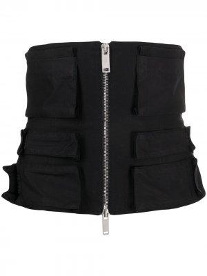 Корсет на молнии с карманами UNRAVEL PROJECT. Цвет: черный