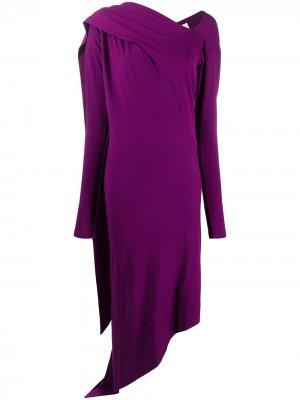 Платье асимметричного кроя с драпировкой Vivienne Westwood Anglomania. Цвет: фиолетовый