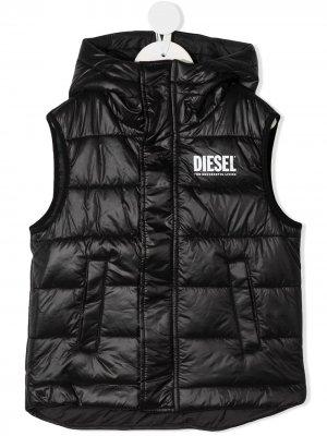 Жилет с капюшоном и логотипом Diesel Kids. Цвет: черный