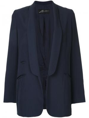 Пиджак-смокинг с воротником шалька Zambesi. Цвет: синий