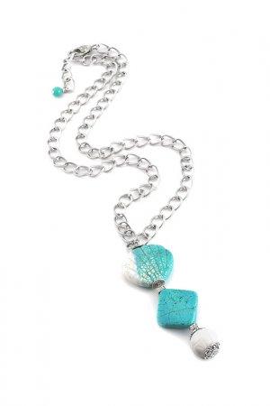 Колье Роман с камнем. Цвет: голубой