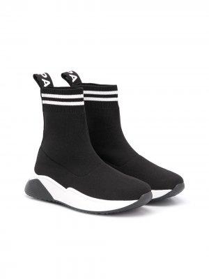 Высокие кроссовки-носки Balmain Kids. Цвет: черный