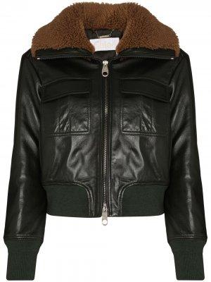 Куртка с оторочкой из овчины Chloé. Цвет: зеленый