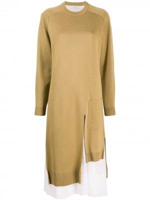 Трикотажное платье Tibi. Цвет: зеленый