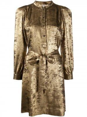 Бархатное платье-рубашка Retouch с поясом Zadig&Voltaire. Цвет: золотистый